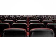Cinema con i posti vuoti, schermo in bianco, modello Concetto di film illustrazione 3D illustrazione di stock