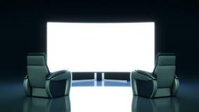 Cinema con lo schermo in bianco Fotografie Stock Libere da Diritti