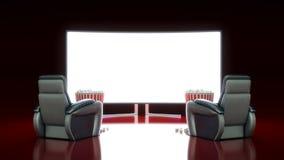 Cinema con lo schermo in bianco Immagini Stock