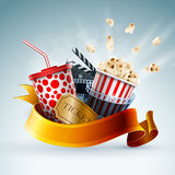 Cinema concept banner. Popcorn box; disposable cup for beverages with straw, film strip, clapper board and ticket with ribbon banner. Detailed vector Stock Photo