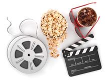 Cinema concept:. Clapper board, film reels, popcorn, cola, glasses isolated< 3d illustration Royalty Free Stock Photos