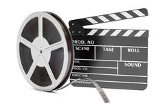 Cinema concept. Clapperboard with film reels, 3D rendering. On white background Stock Photos