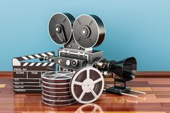 Cinema concept. Clapperboard with film reels and movie camera on. The wooden floor, 3D Royalty Free Stock Images