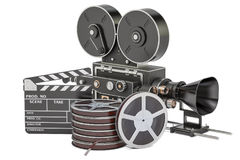 Cinema concept. Clapperboard with film reels and movie camera, 3. D rendering isolated on white background Royalty Free Stock Photos