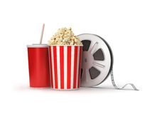 Cinema concept:. Film reels, popcorn, cola,3d illustration Royalty Free Stock Photography