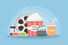 Cinema concept illustartion. Popcorn box with 3d glases and filmstrip Royalty Free Stock Photos