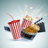 Cinema concept illustration. Popcorn box; Disposable cup for beverages with straw, film strip, clapper board and ticket. Detailed vector illustration. EPS10 file Royalty Free Stock Image