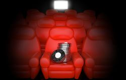 Cinema concept. Isolated on black background Stock Images