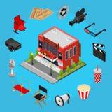 Cinema Concept Isometric View. Vector Stock Image