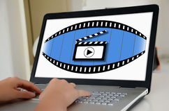 Cinema concept on a laptop screen Royalty Free Stock Image