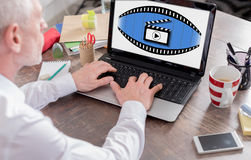 Cinema concept on a laptop screen. Cinema concept shown on a laptop screen Stock Image