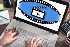 Cinema concept on a laptop screen Royalty Free Stock Photos