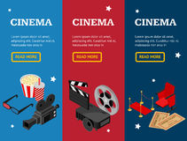 Cinema Concept Movie Banner Vecrtical Set Isometric View. Vector Royalty Free Stock Photos