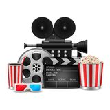 Cinema concept with movie theatre elements set of film reel, clapperboard, popcorn, 3d glasses, camera. Illustration of Cinema concept with movie theatre vector illustration