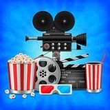 Cinema concept with movie theatre elements set of film reel, clapperboard, popcorn, 3d glasses, camera. Illustration of Cinema concept with movie theatre royalty free illustration