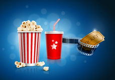 Cinema concept. Popcorn box; Disposable cup for beverages with straw, film strip and ticket. Detailed vector illustration. EPS10 file Royalty Free Stock Photography