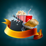 Cinema concept. Popcorn box, disposable scup for beverages with straw, film strip and ticket. Detailed vector illustration. EPS10 file Royalty Free Stock Photos