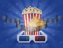 Cinema concept popcorn film tickets and 3d glasses for viewing v. Cinema concept popcorn film tickets and 3d glasses for viewing stock vector illustration Stock Photo