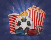 Cinema concept popcorn film tickets and 3d glasses for viewing v. Cinema concept popcorn film tickets and 3d glasses for viewing stock vector illustration Stock Photography