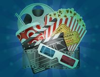 Cinema concept popcorn film tickets and 3d glasses for viewing v Vector Illustration