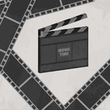 Cinema concept poster with clapboard and movie strip vector illustration. Vector illustration Stock Image