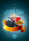 Cinema concept poster. Popcorn box, disposable cup for beverages with straw, film strip, ticket and clapper board. Poster design template. Detailed vector Stock Photos