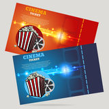 Cinema concept poster template with popcorn bowl film strip  tic Stock Image