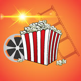 Cinema concept poster template with popcorn bowl film strip  vec Royalty Free Stock Image