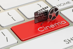 Cinema concept on red keyboard button, 3D rendering Stock Image