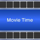 Movie time background with film strip. Cinema concept vector ill. Cinema concept vector illustration. Movie time background with film strip Royalty Free Stock Photography