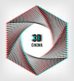 Cinema 3D creative concept banner poster. 3D cinema creative concept, 3d movie icon. 3D symbol with chromatic aberration, the camera aperture of the points Stock Photo