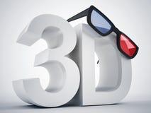 cinema 3d e vidros Imagens de Stock Royalty Free