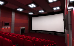 Cinema 3d. Front view cinema, empty (done in 3d Royalty Free Stock Photography