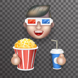 Cinema 3D Glasses Big Popcorn Soda Water Male Guy Man Boy Character Realistic Cartoon Flat Design Vector illustration Stock Photo