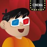 Cinema 3d glasses boy looking teather. Illustration eps 10 Royalty Free Stock Photo