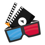 Cinema 3d glasses clapperboard. Illustration eps 10 Royalty Free Stock Photos
