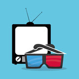 cinema 3d glasses home television Royalty Free Stock Photo