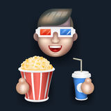 Cinema 3D Glasses Male Guy Royalty Free Stock Photos