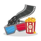 Cinema 3d glasses reeelfilm bucket pop corn. Illustration eps 10 Stock Photo