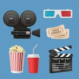 Cinema 3d icons. Movie camcorder clapperboards film tape and stereo glasses vector realistic objects isolated
