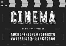 Cinema 3d modern typeface. Trendy typography sans serif style alphabet for party poster, printing on fabric, t shirt, promotion, decoration, stamp, label Stock Photos