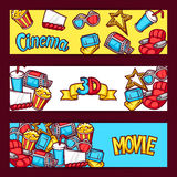 Cinema and 3d movie advertising banners in cartoon style.  Royalty Free Stock Photography