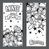 Cinema and 3d movie advertising banners in cartoon style.  Royalty Free Stock Photos