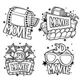 Cinema and 3d movie advertising designs in cartoon style Royalty Free Stock Image