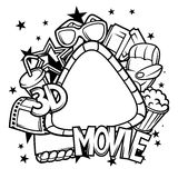 Cinema and 3d movie frame in cartoon style Royalty Free Stock Photography