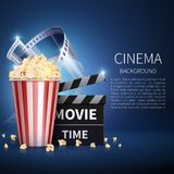 Cinema 3d movie vector background with popcorn and vintage film. Retro cinema poster. Banner cinema and movie film illustration Royalty Free Stock Image