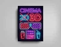 Cinema 3d poster design template in neon style. Neon Sign, Light Banner, Bright Light Flyer, Design Postcard. Promotional Brochure, Neon Night Cinema Royalty Free Stock Photography