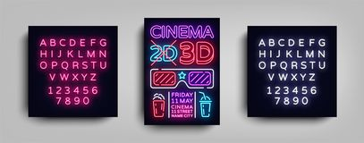Cinema 3d poster design template neon style. Neon Sign, Light Banner, Bright Flyer, Design Postcard, Promotional. Brochure, Neon Night Cinema Advertising Stock Photography