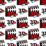 Cinema 3d vector illustration movie entertainment city theater seamless pattern. Stock Photography