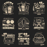 Cinema Dark Emblem Set. Set of nine isolated cinema and film making emblems with various symbols in vintage style vector illustration Stock Photo